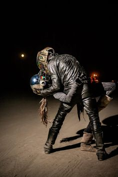 Daft Punk digital love at Burning Man:)  my baby and I took the helmets out for a few pics on the playa.