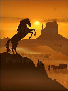 """Poster: """"Der schwarze Mustang"""" - Romantic Wall Art by Mausopardia - Romantische Wandbilder von Mausopardia bei Posterlounge!"""