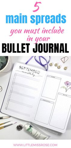 The 5 Main Spreads to Include in your Bullet Journal Bullet Journal Key Page, Bullet Journal Contents, Creating A Bullet Journal, Bullet Journal For Beginners, Bullet Journal How To Start A, Bullet Journal Junkies, Bullet Journal Spread, Bullet Journal Layout, Bullet Journal Inspiration