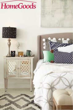 Your bedroom is a sanctuary and personal refuge. Customize it with a night stand that's pretty and practical. Find inspiration and make it yours at your local HomeGoods store!