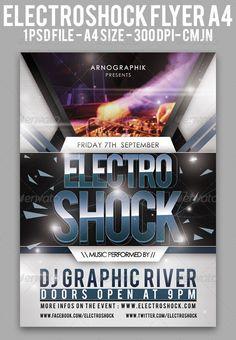 "Electroshock Flyer A4  #GraphicRiver         ""Electroshock"" is a flyer template to promote an Electro, Drum'n'Bass or House music event. Files are separated in folders for easy editing. Easily to change text. The PSD file is setup at 3508px x 2480px (A4) + Bleeds.  	 1 PSD files included in the download. Print Ready: PSD layered, CMYK , 300 DPI .  The photo used for the preview is not included in the download, but you can download for free here :  .sxc.hu/browse.phtml?f=view&id=935396 	 FONT…"