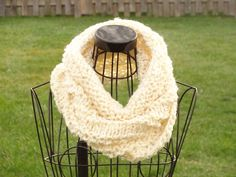 Knit Chunky Cow, hand knit circular scarf, Ivory knitted winter scarf, neck warmer. $30.00, via Etsy.