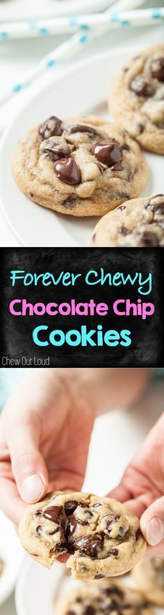 Forever Chewy Chocolate Chip Cookies. These stay rich, thick, and chewy for days! Perfect for sharing :) #chocolate #chip #cookies #dessert #sweets #treats #baking www.chewoutloud.com