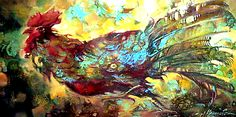 """""""Rooster"""" in the paintings of the artist Sergej Hahonin oil on canvas. Chicken Bird, Rooster Painting, Oil On Canvas, Paintings, The Originals, Artist, Prints, Paint, Painting Art"""