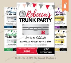 PRINTABLE | Graduation Trunk Party Celebration Invitation Bunting Foil High School College | 4x6  5x7 | Customized Card | ANY Colors by PeachyPeanutPrints on Etsy