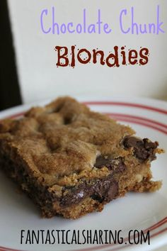 Chocolate Chunk Blondies   Foolproof soft & chewy blondies that taste like a chocolate chip cookies   www.fantasticalsharing.com