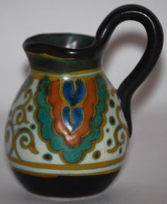 Gouda Pottery 1923 Collier Miniature Pitcher Artist Signed from Just Art Pottery