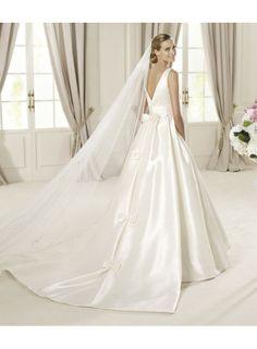 Sketchy Sleeveless A-line Straps Floor-length Taffeta Wedding Dresses WE4304