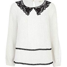 cream polka dot lurex blouse - blouses - blouses / shirts - women - River Island