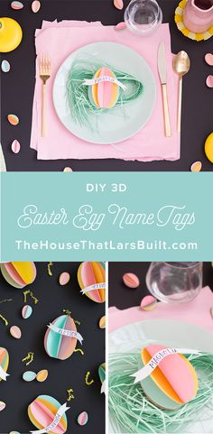 Easter egg name tags - The House That Lars Built Egg Crafts, Easter Crafts For Kids, Easter Ideas, Easter Recipes, Egg Names, Easter Egg Designs, Easter Printables, Easter Party, Name Cards