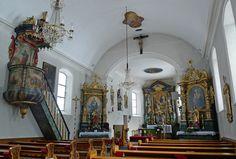 Nikolaus Church Interior of St. Nikolaus parish church, with a high altar dedicated to St. Nikolaus, the patron saint. Church Interior, Episcopal Church, Patron Saints, The St, Roman Catholic, Altar, Amazing, Altars