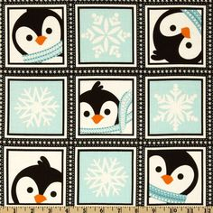 Winter Penguins Playful Penguins Blocks Winter Blue Panda Quilt, Purple Quilts, Fabric Panels, Fabric Online, Quilt Baby, Penguins, Digital Prints, Quilt Patterns, Lavender