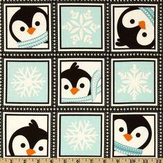 Winter Penguins Playful Penguins Blocks in Winter Blue - maybe a bit Christmassy?