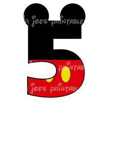 Mickey Mouse Age Birthday Number DIY iron On by mrjoesprintables