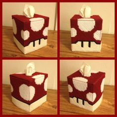 Super Mario Mushroom Tissue Box Handmade