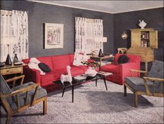 1951 Coral & Gray Living Room. Coral and gray - my new favorite color combo!
