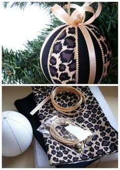 Christmas Ornament Kit- Leopard Stripes Kimekomi, DIY and Crafts, Christmas Ornament Kit- Leopard . Going to make my own someday. Maybe next Christmas season! Noel Christmas, Christmas Baubles, Homemade Christmas, Christmas Projects, Holiday Crafts, Holiday Fun, Theme Noel, Diy Christmas Ornaments, Quilted Ornaments