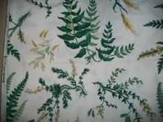 """Waverly vintage Botany Country Weekend Collection green/white fabric 50"""" X 68"""" #Waverly"""