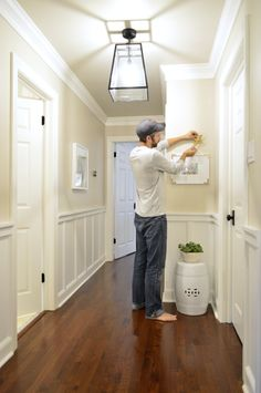 Upstairs hallway lighting ideas wainscoting New Ideas Wainscoting Hallway, Wainscoting Kitchen, Wainscoting Styles, Black Wainscoting, Wainscoting Panels, Young House Love, Home Renovation, Home Remodeling, Halls