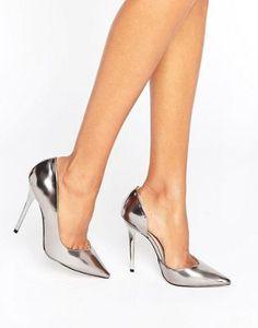 Зеркальные туфли-лодочки оловянного цвета Office Shadow