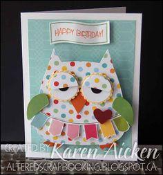 Wobbly Owl Birthday Card