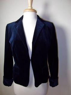 J.Crew Navy Velvet Blazer Size  8 M Jacket Gorgeous! EUC $64.50