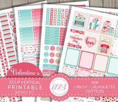February Erin Condren Stickers, Valentines Planner Stickers, Weekly Planner Kit, Vertical Planner Stickers, Printable Stickers, VS124 by DesignLovelyStudio