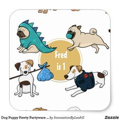 Dog Puppy Pawty Partyware Personalized Stickers
