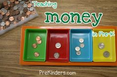 "Pre-K Money ""games"": my favorites include: making a store; money patterns; stacking coins (until they fall); using a magnifying glass to compare each or sort; and crayon rubbings of coins"
