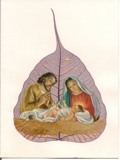 Christmas Nativity Scene on a real leaf   Handmade with rice straw by museumshop, $6.99  No two leaf or leaf art look alike.
