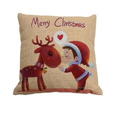 Nunubee Square Christmas Pillowcase Throw Pillow Case Home Decor Sofs Cushion Cover Pattern C ** Click image to review more details.