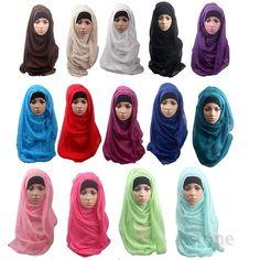 Moda Turbante Islámico Desgaste de La Cabeza Cubierta de la Banda En El Pecho Cuello Chales Hijab Árabe Musulmán Capó Corto Mujeres Abrigo de La Bufanda