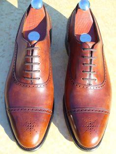 John Lobb perf toe brown leather oxfords