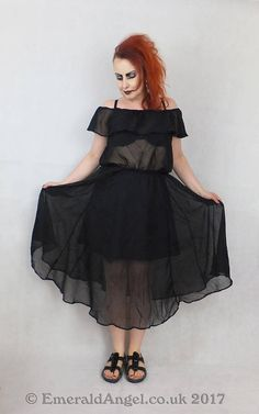 Chiffon Summer Dress Summer Romantic Goth Custom Size