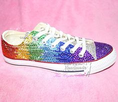 Rainbow Converse All Star Sneakers by HandmadeCrystalShoes on Etsy, $185.00