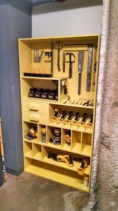 """Woodworking Shop Picture of Tool Organizer Shelf - One of our three theatres is on the opposite side of the building making running back to the shop for that """"one tool"""" inconvenient. As a solution we turned one o. Workshop Storage, Workshop Organization, Garage Workshop, Garage Organization, Organization Ideas, Workshop Ideas, Diy Garage Storage, Shed Storage, Closet Storage"""