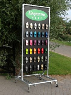Rolling retail rack made with Kee Klamp Pipe Fittings
