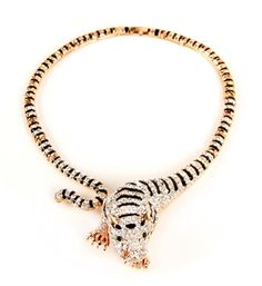 Gold Tiger Statement Necklace Set