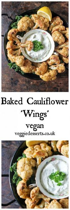 Baked Cauliflower Wings with Herb and Garlic Dip | Veggie Desserts Blog These easy vegan 'wings' have a lovely gentle spice that's perfect with vegan herb and garlic dip. #vegan #veganwings #veganuary #veganrecipes #veganfood