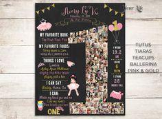 Tutus, Tiaras, Teacups, Ballerina Birthday, Pink and Gold Chalkboard Sign, One Year Chalkboard, 1st Birthday Chalkboard