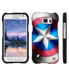 Spots8® for Samsung Galaxy S 6 ACTIVE, Slim fit Snap On Hard Plastic Case Cover with Design [American Star]