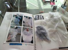 Development sample flounce page pt 2 Sketchbook Layout, Textiles Sketchbook, Sketchbook Pages, Fashion Sketchbook, Sketchbook Inspiration, Fashion Sketches, A Level Textiles, Fashion Design Portfolio, Fashion Courses