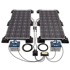 Biard 200W Black Solar Panel Kit with Corner/Side Mounts & 20A Dual Battery Charge Controller