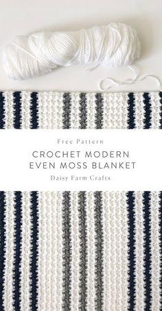 Crochet Afghans Patterns Free Pattern - Crochet Modern Even Moss Blanket Crochet Afghans, Crochet Stitches Patterns, Baby Blanket Crochet, Crochet Baby, Crochet Blankets, Afghan Patterns, Baby Blankets, Crotchet, Modern Crochet Blanket