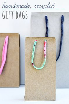 handmade gift bags from recycle materials