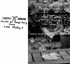 A Childs Handwriting engraved on a Crystal Wine Glass by Alexis Valentine of Walking On Glass www.walkingonglass.co.uk Bespoke Engraved Gifts www.facebook.com/walkingonglass.co.uk