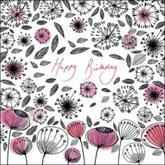 Funky Florals. Dotty flowers with dandelions by Amy Eastland. The card is left blank inside for your own greeting.