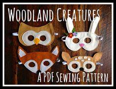 Woodland Animals (Fox, Fawn, Bunny and Owl) Felt Mask PDF Patterns and BONUS Printables on Etsy, $5.28