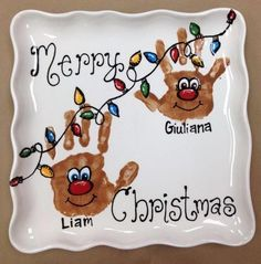Christmas handprint plates - Google Search