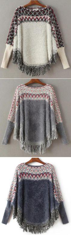 Romoti On The Wine Bat Sleeve Tassel Sweater